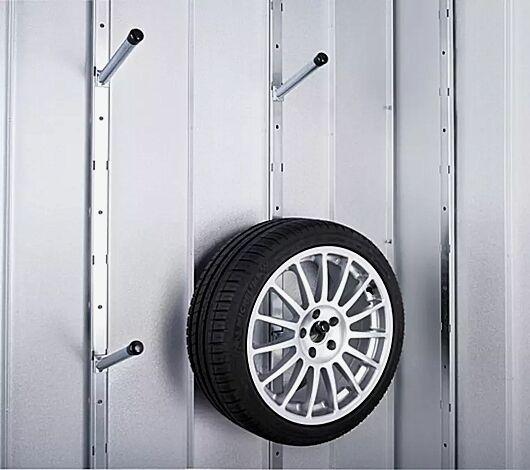 Reifenset: Bestehend aus 2 Systemstützen 2180 mm, 4 Reifenhaltern 215 mm Tiefe zum Einstecken
