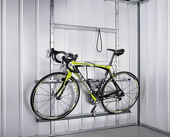 Fahrradset: Bestehend aus 2 Systemstützen 2180 mm, zwei Reifenschienen ca. 1480 mm lang, 2 Befestigungsseilen und 2 Adapterschienen 100 mm lang