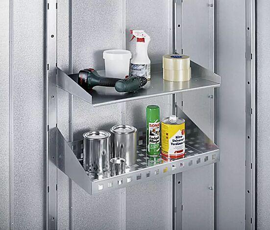 Grundset: Bestehend aus 2 Systemstützen 2180 mm zum Einhängen in die Wände, einem Regalboden B 590 x T 305 mm und einem Regalkorb B 590 x T 290 mm zum Einstecken in die Systemstützen