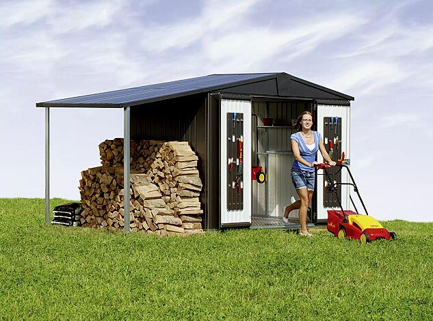 Gerätehaus PANORAMA, Modell 3 mit Seitendach (Mehrpreis) in dunkelgrau-metallic, mit Alu Bodenrahmen, Alu-Bodenplatte und Tür zweiflügelig