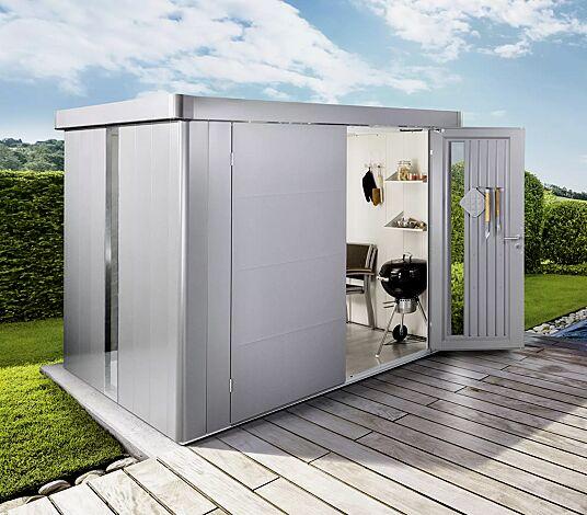"""<div id=""""container"""" class=""""container"""">Gerätehaus NEO, Modell 6 in silber-metallic, mit Tür zweiflügelig, Lichtpanel, Regalböden, Aluminium-Bodenrahmen und -Bodenplatte</div>"""
