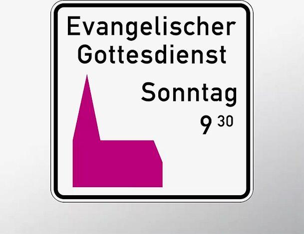 Hinweisschild: Gottesdienst