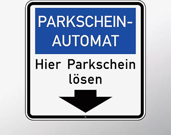 Hinweisschild: Parkscheinautomat