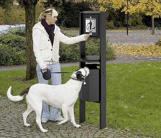 """<div id=""""container"""" class=""""container"""">Hundetoilette COVENTRY mit achteckigem Abfallbehälter, zum Einbetonieren, in RAL 7016 anthrazitgrau</div>"""