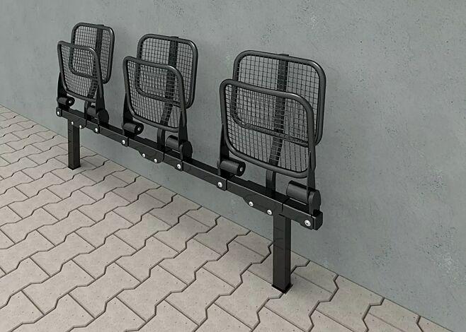 """<div id=""""container"""" class=""""container"""">Klappsitz TOLFA, 3-Sitzer mit Rückenlehne, in RAL 7016 anthrazitgrau</div>"""