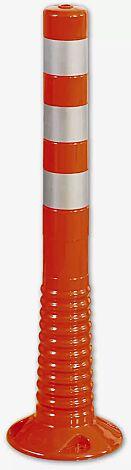 Leitpfosten AGIL in rot mit weißen Reflexstreifen, Höhe 750 mm