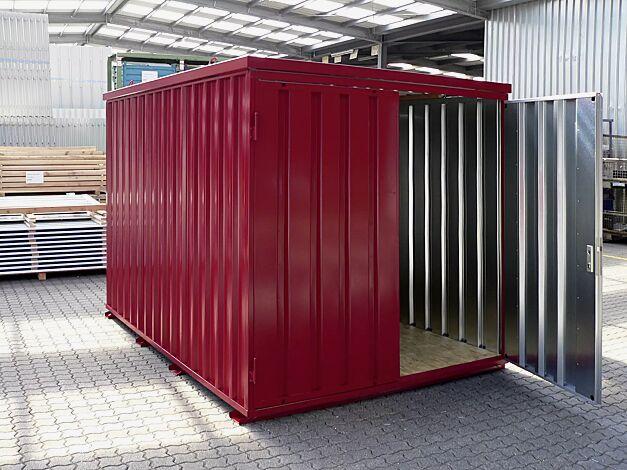 Materialcontainer BOSVILLE, Modell 3, feuerverzinkt und lackiert in RAL 3000 feuerrot, inkl. Boden, Doppeltür an Stirnseite