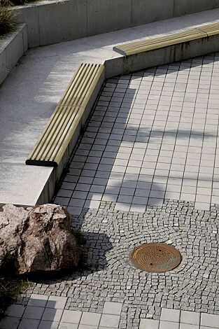 Mauerauflage FORMA - Anfangs- und Endteil, mit Robinienholzbelattung, Stahlteile in RAL 7016 anthrazitgrau