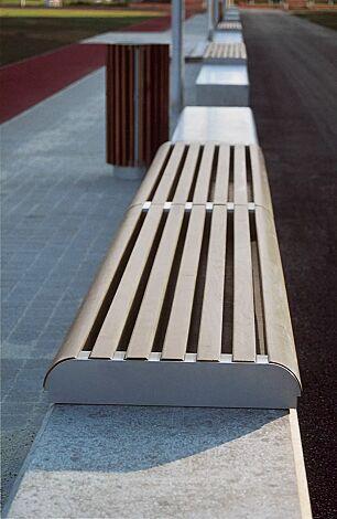 Mauerauflage FORMA al- Anfangs- und Endteil, mit Kiefernholzbelattung lackiert in country brown, Stahlteile in RAL 9007 graualuminium