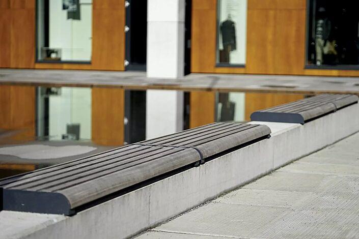 Mauerauflage FORMA - Anfangs- und Endteil, mit Jatobaholzbelattung, Stahlteile in RAL 7016 anthrazitgrau