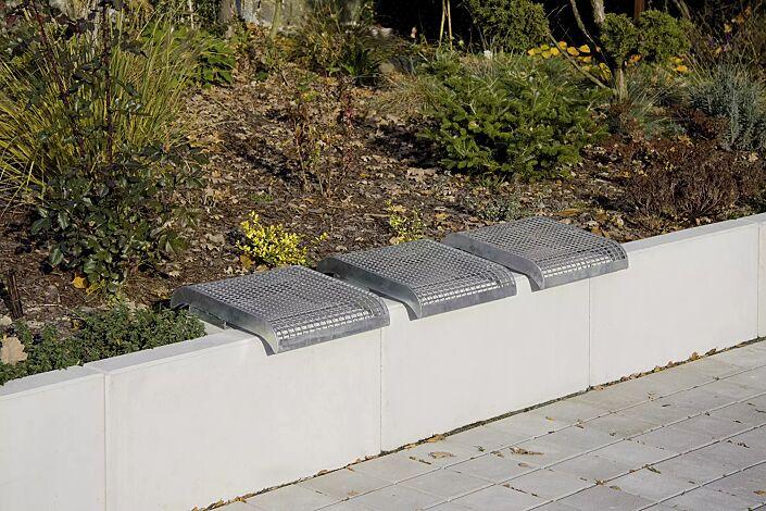 Mauerauflage LINUS ohne Rückenlehne, Einzelsitz, in RAL 9007 graualuminium