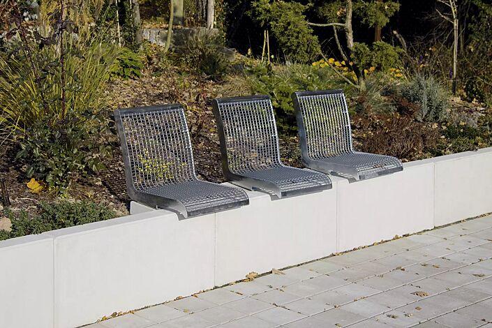 Mauerauflage LINUS mit Rückenlehne, Einzelsitz, in RAL 9007 graualuminium