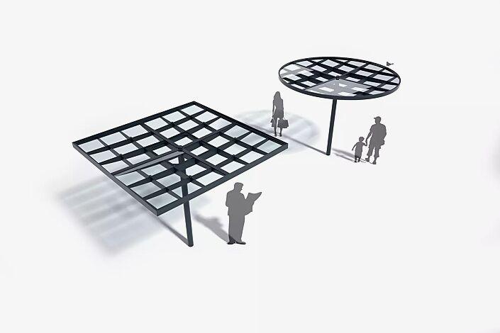 Meeting-Point PIN, Dachbreite x Dachtiefe 3075 mm x 3075 mm, lichte Höhe 2370 mm, Dacheindeckung VSG,  Stahlkonstruktion feuerverzinkt und pulverbeschichtet<br /><br />Meeting-Point PIN, Dachbreite x Dachtiefe 3075 mm x 3075 mm, lichte Höhe 2370 mm, Dacheindeckung VSG,  Stahlkonstruktion in RAL 7016 anthrazitgrau