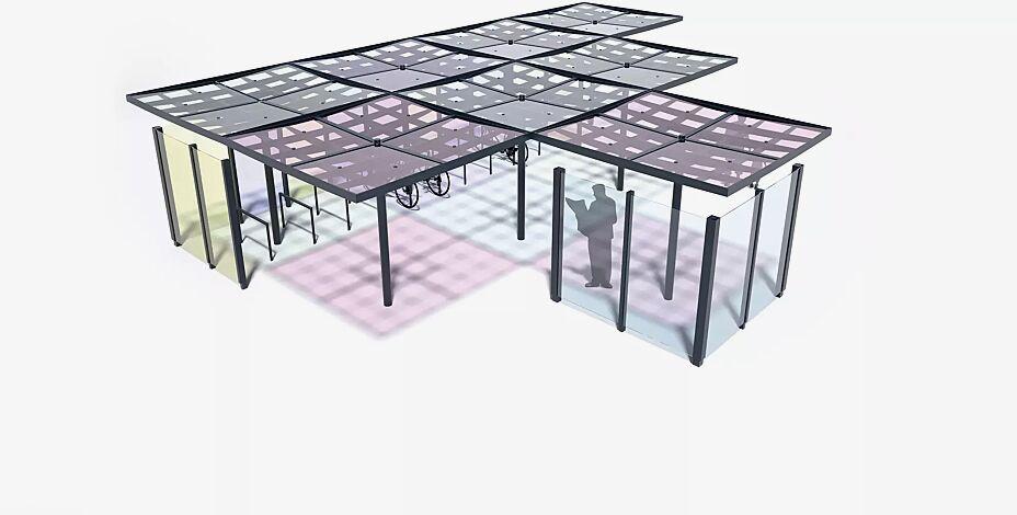 Meeting-Point PIN, 8 Stück Module, Dachbreite x Dachtiefe 12300 mm x 9225 mm, auftragsbezogene Anpassung mit Seitenwänden und durchgefärbten Scheiben, Stahlkonstruktion in RAL 7016 anthrazitgrau