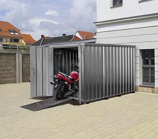 """<div id=""""container"""" class=""""container"""">Motorradgarage BANGOR mit Aluminium-Auffahrrampe (Zubehör), feuerverzinkt</div>"""