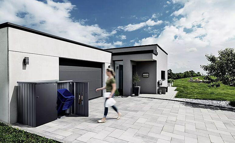 Müllbehälterschrank ALEX®, bestehend aus 2 Einzelschränken mit einem Verbindungselement (Zubehör), Seitenwände, Tür und Dach jeweils in dunkelgraumetallic