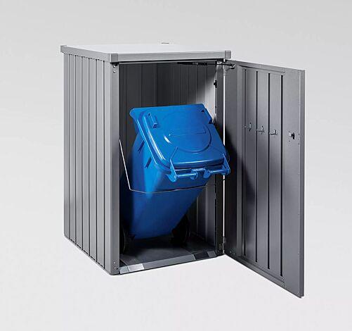 Müllbehälterschrank ALEX®, Seitenwände, Tür und Dach in silber-metallic