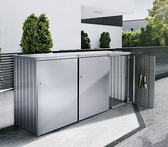 Müllbehälterschrank ALEX®, bestehend aus 3 Einzelschränken mit 2 Verbindungselementen (Zubehör), Seitenwände, Tür und Dach jeweils in silber-metallic