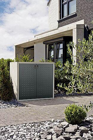Müllbehälter-Doppelschrank DARWEN, für Tonnengröße 80 bis 120 Liter, Korpus Sichtbeton, Türen in anthrazitgrau ähnlich RAL 7016, Rahmen in seidengrau ähnlich RAL 7044 (auf Anfrage gegen Mehrpreis)