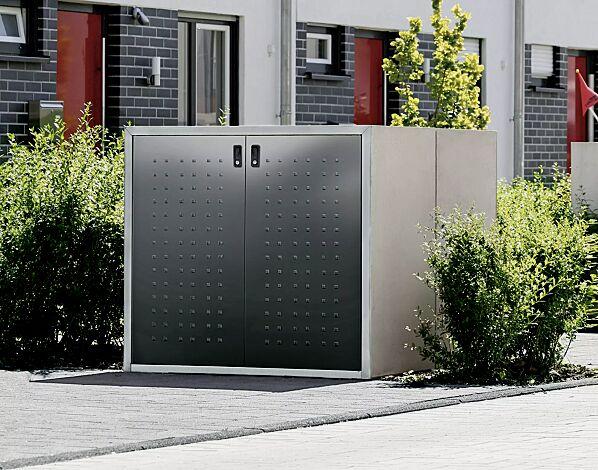 """<div id=""""container"""" class=""""container"""">Müllbehälter-Doppelschränke DARWEN, für Tonnengröße 80 bis 240 Liter, Korpus Sichtbeton, Türen in anthrazitgrau ähnlich RAL 7016</div>"""