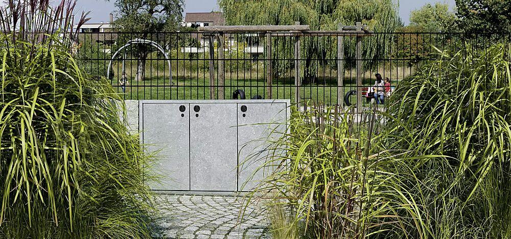 Müllbehälter-Dreifachschrank DAWSON, Korpus Sichtbeton