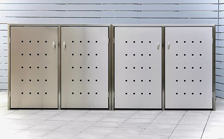 Müllbehälter-Vierfachschrank FAIRBANKS, mit Schiebedach, komplett aus Edelstahl