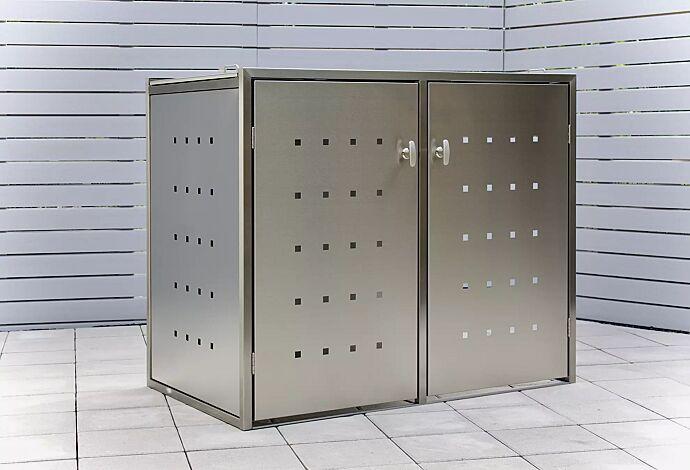 Müllbehälter-Doppelschrank FAIRBANKS, mit Schiebedach, komplett aus Edelstahl