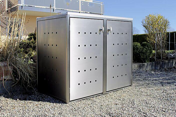 Müllbehälter-Doppelschrank FAIRBANKS, komplett aus Edelstahl