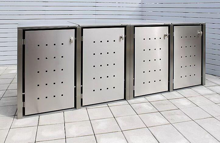"""<div id=""""container"""" class=""""container"""">Müllbehälter-Vierfachschrank CHEYENNE, mit Klappdach, komplett aus Edelstahl</div>"""