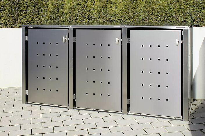 """<div id=""""container"""" class=""""container"""">Müllbehälter-Dreifachschrank CHEYENNE, mit Klappdach, komplett aus Edelstahl</div>"""