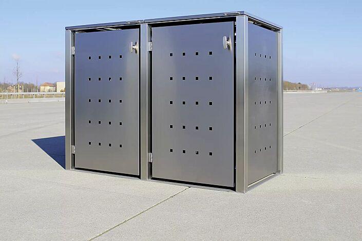 """<div id=""""container"""" class=""""container"""">Müllbehälter-Doppelschrank CHEYENNE, mit Klappdach, komplett aus Edelstahl</div>"""