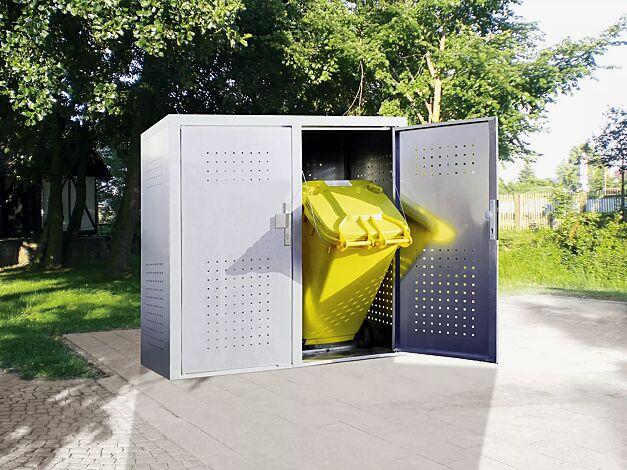 Müllbehälter-Doppelschrank FLEET, in RAL 9006 weißaluminium, Türen mit fester Griffplatte außen und drehbarem Knauf innen