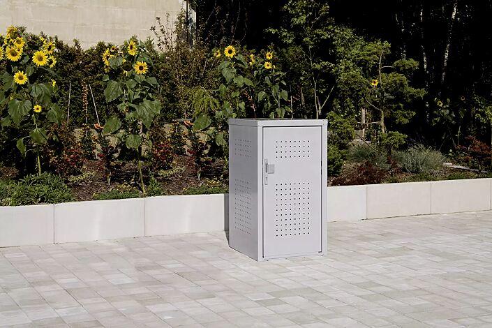 Müllbehälter-Einzelschrank FLEET, in RAL 9006 weißaluminium, Tür mit fester Griffplatte außen und mit Türdrücker innen