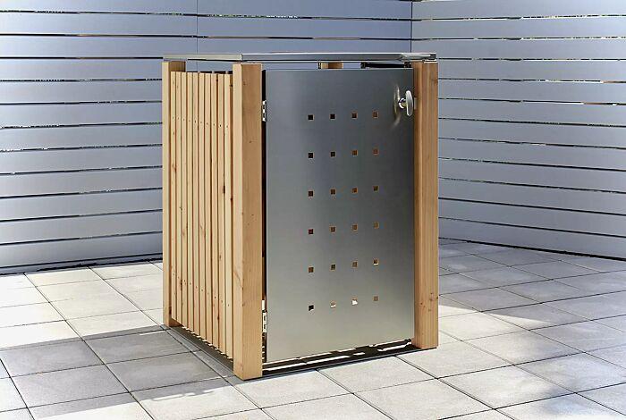 Müllbehälter-Einzelschrank FONTANA, Türen und Dach aus Edelstahl, Pfosten, Rück- und Seitenwandelemente aus Lärchenholz