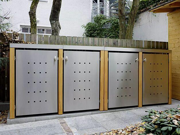 2x Müllbehälter-Doppelschrank FONTANA, Türen und Dach aus Edelstahl, Pfosten, Rück- und Seitenwandelemente aus Lärchenholz