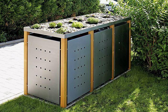 Müllbehälter-Dreifachschrank GARLAND, Türen, Dach, Rück- und Seitenwandelemente aus Edelstahl, Pfosten in Lärchenholz, mit Dachbegrünung