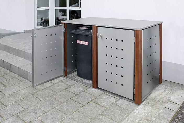 Müllbehälter-Doppelschrank GARLAND mit Flachdach, Türen, Dach, Rück- und Seitenwandelemente aus Edelstahl, Pfosten in Bangkiraiholz