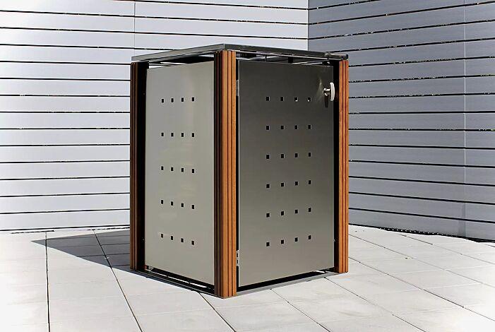 Müllbehälter-Einzelschrank GARLAND mit Flachdach, Türen, Dach, Rück- und Seitenwandelemente aus Edelstahl, Pfosten in Bangkiraiholz