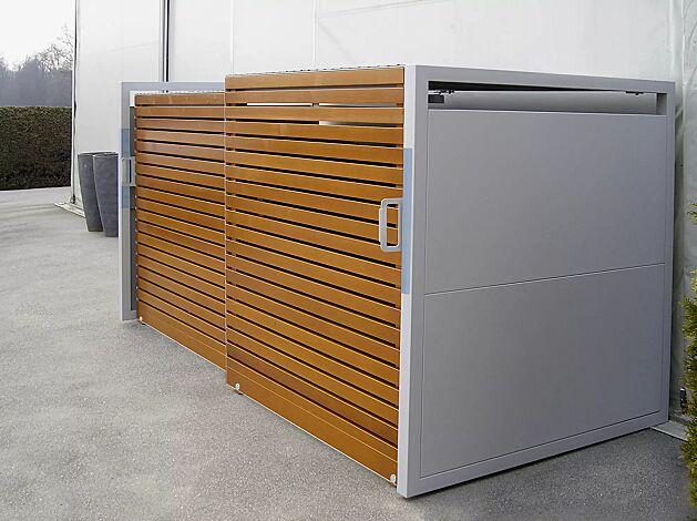 Müllbehälter-Doppelschrank STYLEOUT® LINIS 1100, Türen in Holz-Dekor Douglasie, Stahlkonstruktion, Rück- und Seitenwände in RAL 9006 weißaluminium, Dach in Aluminium eloxiert