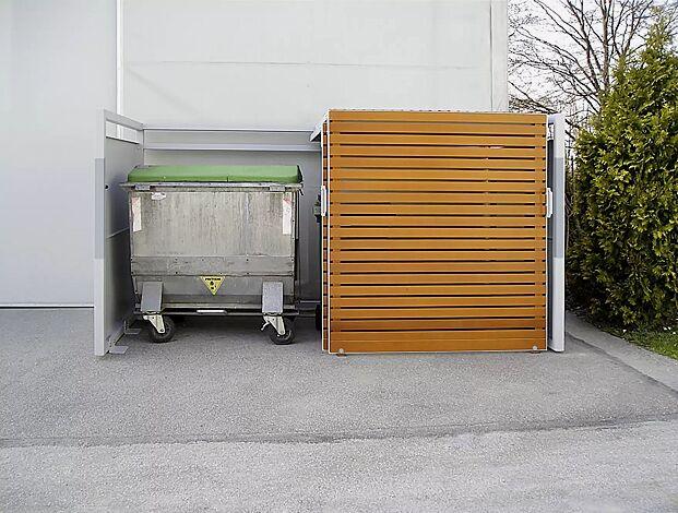 Müllbehälter-Doppelschrank STYLEOUT® LINIS 1100, Türen in Holz-Dekor Douglasie, Stahlkonstruktion und Seitenwände in RAL 9006 weißaluminium, Dach in Aluminium eloxiert