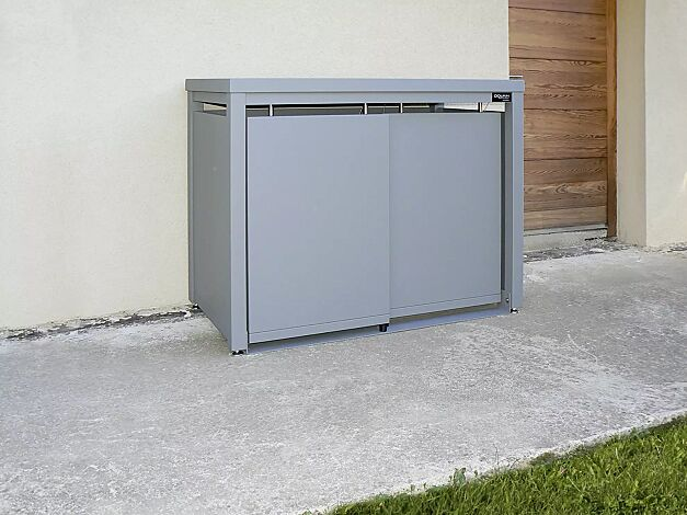 Müllbehälterschrank STYLEOUT® BLANK mit Pflanzdach, Doppelschrank, Stahlkonstruktion, Dach, Schiebetüren, Rück- und Seitenwände in RAL 7005 mausgrau