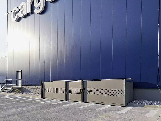 Müllbehälter-Doppel- und Dreifachschrank STYLEOUT® QUBIS 1100, Schiebetüren mit Quadratlochung, Aluminiumkonstruktion in RAL 9007 graualuminium