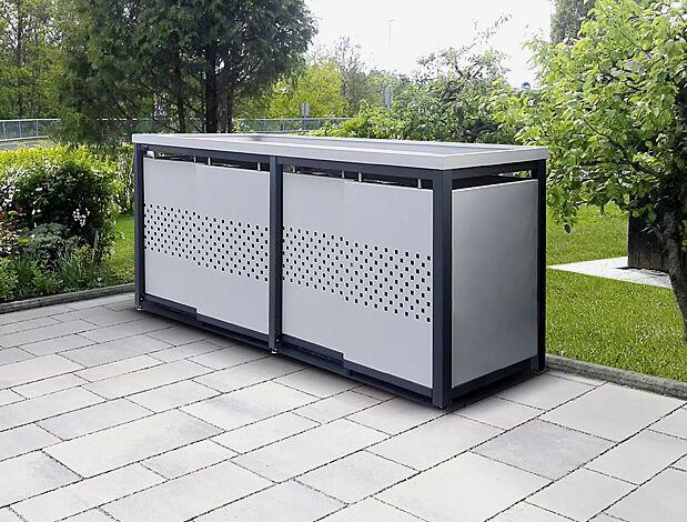 Müllbehälterschrank STYLEOUT® QUBIS mit Pflanzdach, Vierfachschrank, Stahlkonstruktion in RAL 7016 anthrazitgrau, Dach, Schiebetüren, Rück- und Seitenwände in RAL 9006 weißaluminium