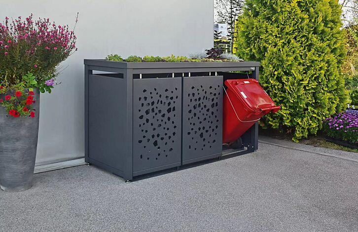 """<div id=""""""""container"""""""" class=""""""""container"""""""">Müllbehälterschrank STYLEOUT® TOMO mit Pflanzdach, Dreifachschrank, Dachbegrünung (bauseits), Stahlkonstruktion in RAL 7016 anthrazitgrau</div>"""