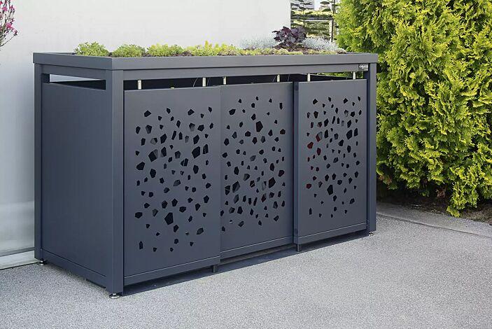 Müllbehälterschrank STYLEOUT® TOMO mit Pflanzdach, Dreifachschrank für Tonnengröße 120 l, mit Schiebetüren, Dachbegrünung (bauseits), Stahlkonstruktion in RAL 7016 anthrazitgrau