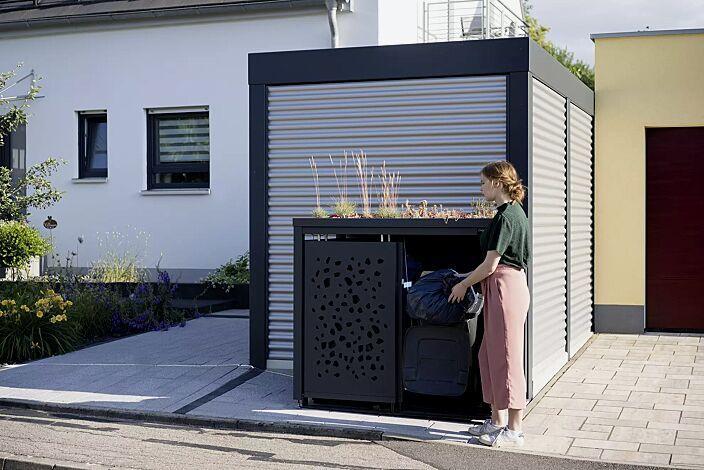Müllbehälterschrank STYLEOUT® TOMO mit Pflanzdach, Doppelschrank, Stahlkonstruktion in RAL 7016 anthrazitgrau
