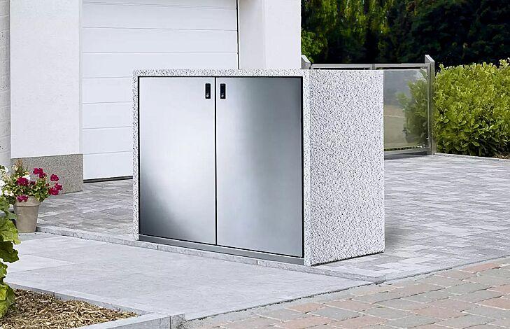 Müllbehälter-Doppelschrank SWANLEY, Korpus Sichtbeton gewaschen in eisgrau, Türen aus Edelstahl