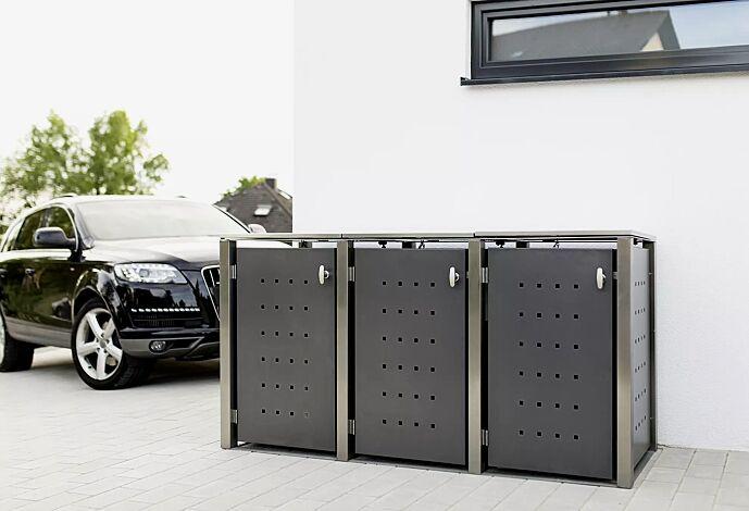 Müllbehälter-Dreifachschrank TORRANCE, komplett aus Edelstahl, Türen zusätzlich auftragsbezogen in anthrazit gepulvert.