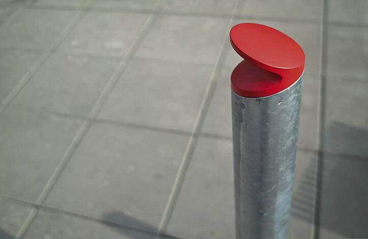 Poller BARD feuerverzinkt (auf Anfrage), Pollerkopf in RAL 3003 rubinrot