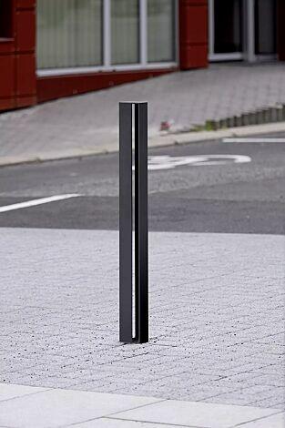 Poller ELIAS ohne Stadtwappen, zum Aufdübeln bei -100 mm, in RAL 7016 anthrazitgrau